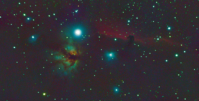 Flame Nebula (NGC 2024) and Horse Head Nebula